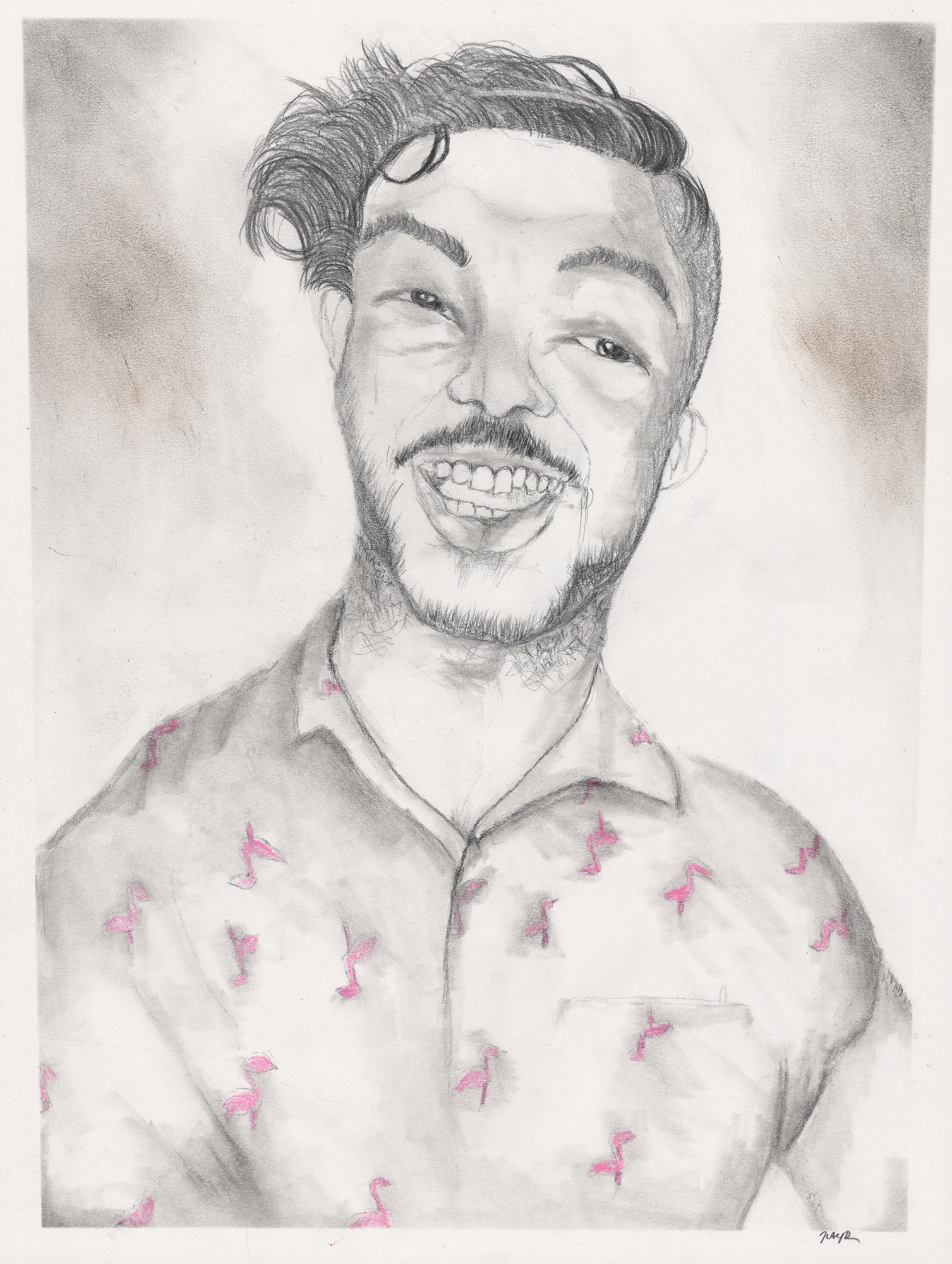 A delicate pencil drawing of the head and shoulders of a young man with short tousled hair and a moustache. His shirt is patterned with pink flamingoes and he smiles broadly.