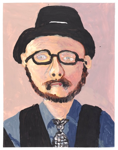 Created with confident painterly strokes, the head and shoulders of a man with a brown beard and moustache, black-rimmed glasses, black trilby hat, dark blue shirt, patterned tie and dark waistcoat.