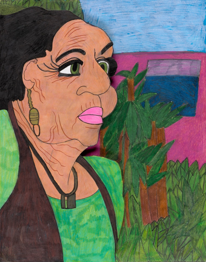 A three quarter portrait of a woman of color wearing a bright green top, wearing elegant jewelry, gazes to our right. Behind her a vibrant tropical background with palm trees and a bright pink building.