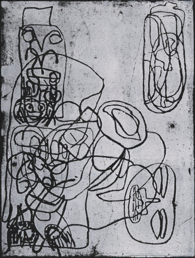 White ink on a black background. A complex layer of energetic black lines on the left, which connect to a serene face on its side to the right.