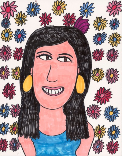 The head and shoulders of a smiling woman with turquoise dress and large oval, sun gold earrings. She is surrounded by a design of small multi-colored daisies.