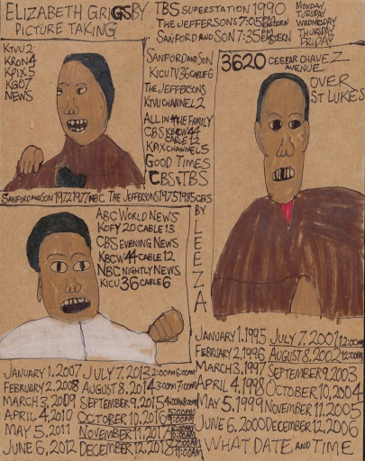 Words in the top left corner: Elizabeth Grigsby Picture Taking. IMAGE: Three portraits of an African American woman drawn in black pen on cardboard, with added highlights on her clothes. The spaces between the portraits are filled with lists of dates