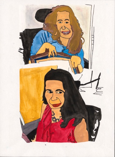 Two stacked portraits of the same smiling white woman fit together and use bold flat shapes and strong colors. She uses a power wheelchair with headrest.