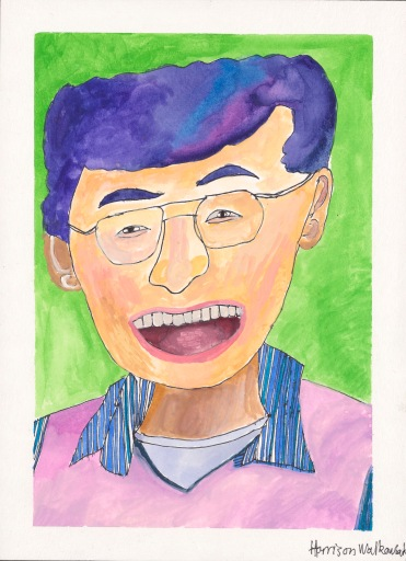 An Asian American man with wire-rimmed glasses has a broad smile that is almost a laugh. His hair is blue and the same color as his striped shirt.