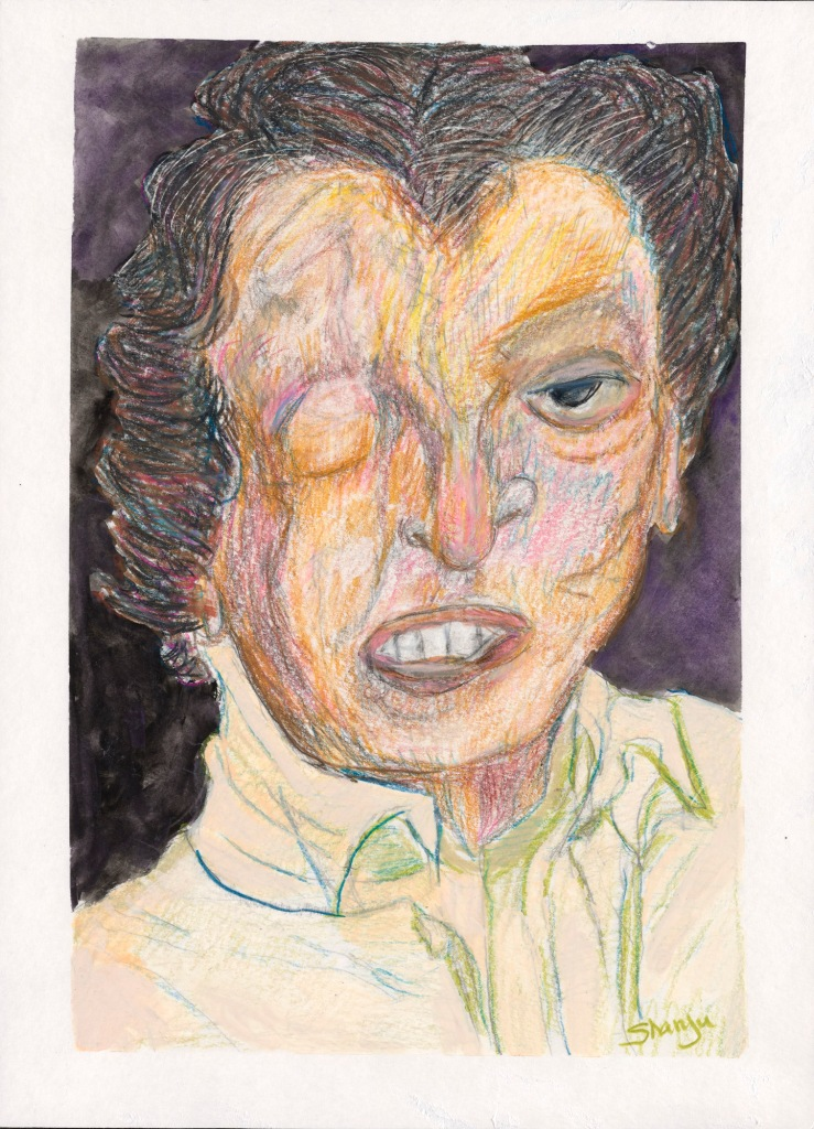 A careful drawing in colored pencil on paper of the head and shoulders of a white man with thick dark hair and a closed right eye. The detail of his shirt is carefully drawn.