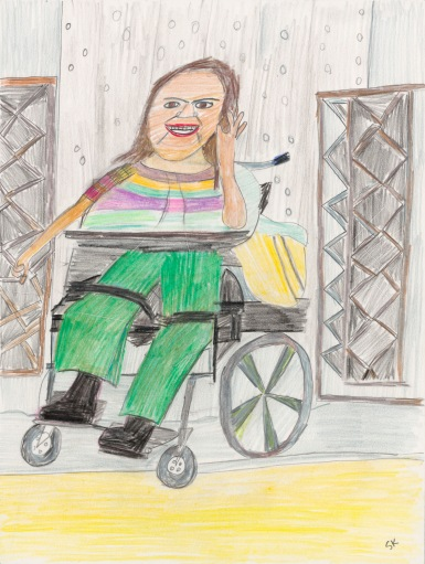 Created with energetic marks from muted color pencils, a woman with long dark hair, wearing grass green pants smiles from her power wheelchair, and raises her left hand.