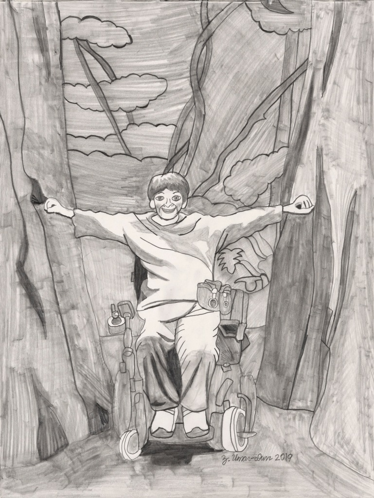 Created with soft pencil tones, a white woman in a power wheelchair has both arms stretching to touch huge trees, with a lush forest behind.