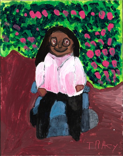 A smiling African American woman with glasses in a bright blue power wheelchair and pale top looks directly at us. The shapes are bold and painterly. Behind is a luscious garden with pink flowers.