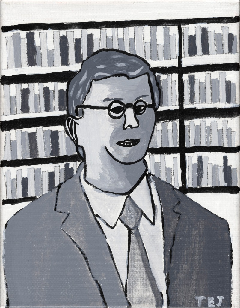 A monochrome painting in black and white and shades of grey, of the head and shoulders of a white man with short hair, and round glasses, wearing a suit. He stands in front of abundant bookshelves.