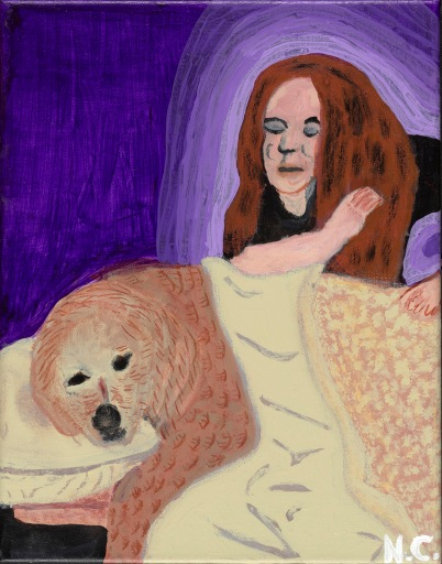 A woman with long brown hair uses her elbow to massage a Labrador dog lying on a table. The portrait has fine detail to suggest texture and depth.