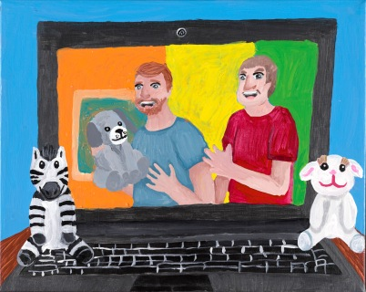 A double portrait of two white men on a laptop screen created with shiny acrylic paint. One man holds a hand puppet. A toy zebra sits on the left of the keyboard and on the right is a toy rabbit.