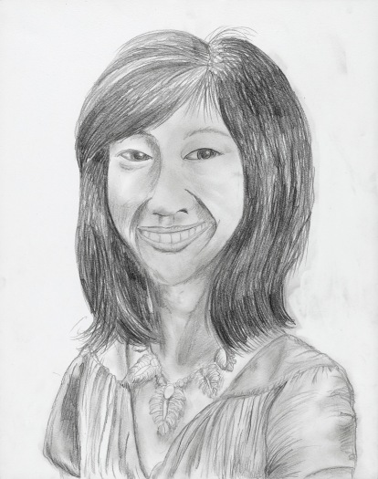 A detailed pencil drawing of the head and shoulders of a young Asian American woman with shoulder length hair and a beaming smile.