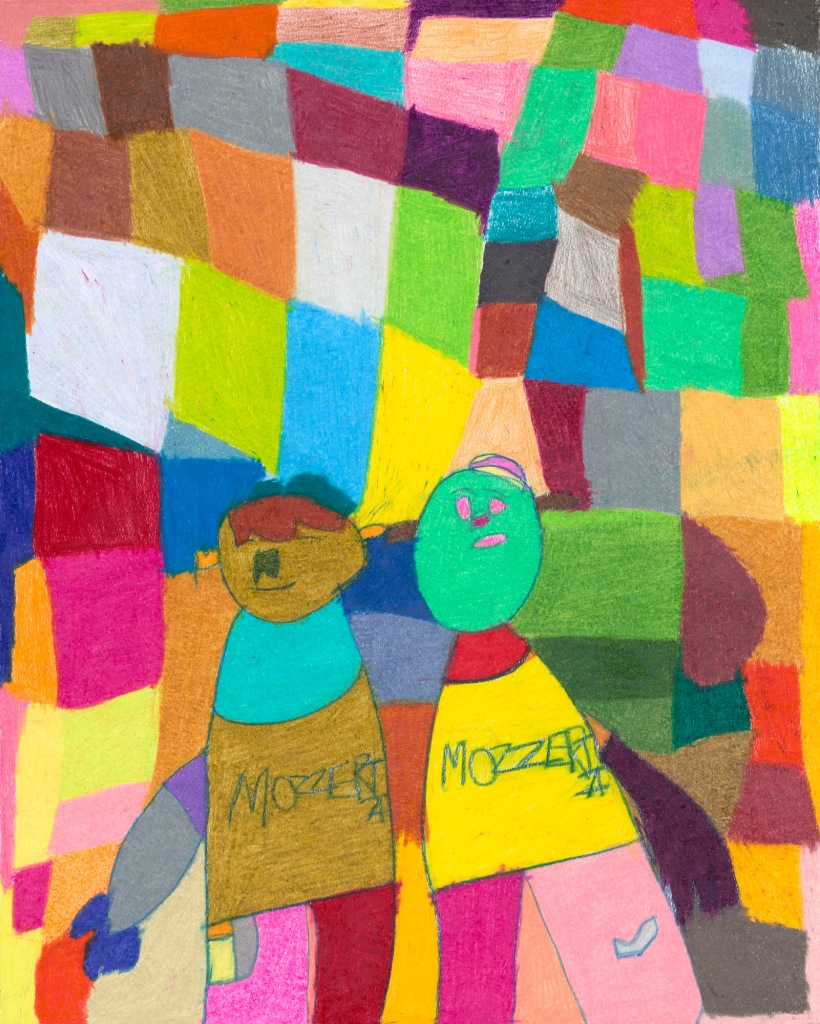 Two people drawn with bold colors and simple shapes have the word Mozzeria written across their aprons. The background of irregular squares of vibrant colors resembles a patchwork quilt.
