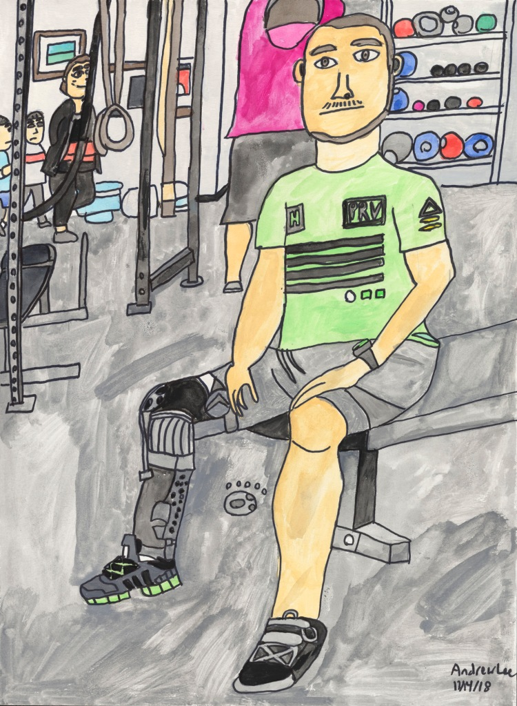 A white man with a high-tech prosthetic right leg sits on a gym bench, drawn with bold outlines and gentle, energetic colors, in a busy gym.