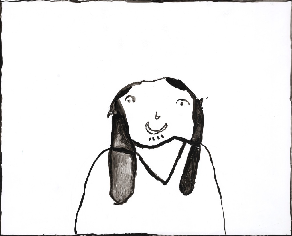 A simple outline painting of a young woman with long hair, surrounded by white space.