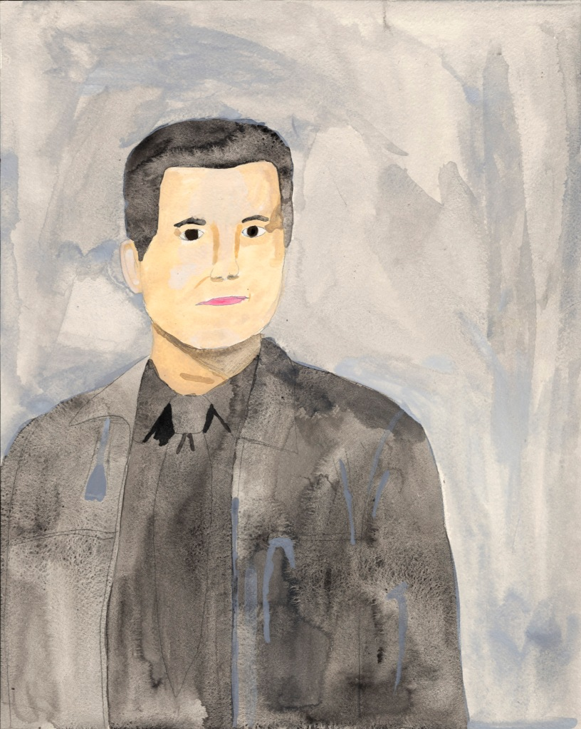 A pale-skinned man with dark eyes and short dark hair, wearing a dark suit and tie in delicate watercolor and a pale blue background.