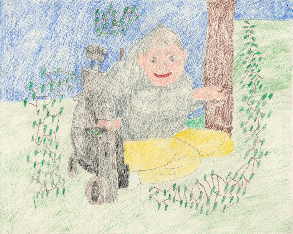 A drawing with colored pencils on paper. Against a pale blue background a man in yellow pants riding a power wheelchair is surrounded on either side by a network of plants.
