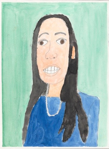Painted with delicate strokes, a head and shoulders portrait of a confident woman with long dark hair, a pearl necklace and blue dress.