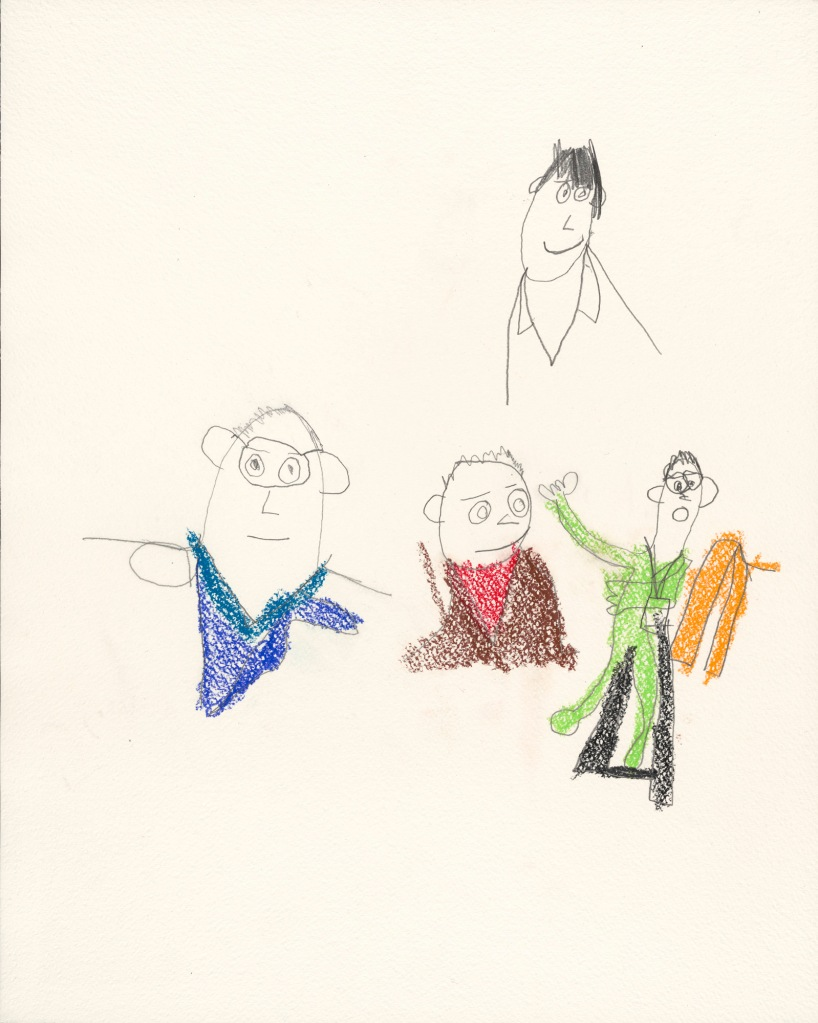 Four small pencil drawings of a man in the middle of white textured paper have varied expressions and colorful clothes. The man on the right raises his arm from his wheelchair.