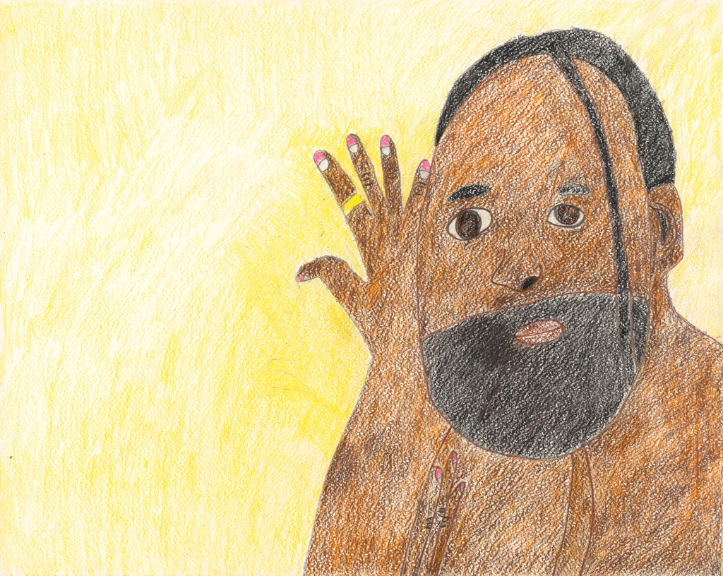 A gentle colored pencil drawing of the head and shoulders of an African American man, with a full beard and a single dreadlock over his face. He signs with his right hand close to his face.