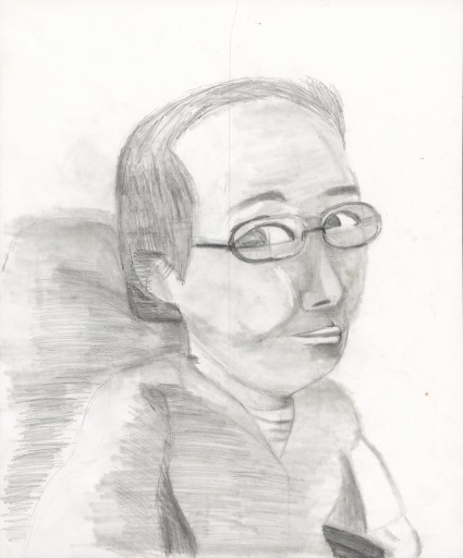 A head and shoulders pencil drawing of an Asian American woman wearing glasses taking a sideways look at the viewer.