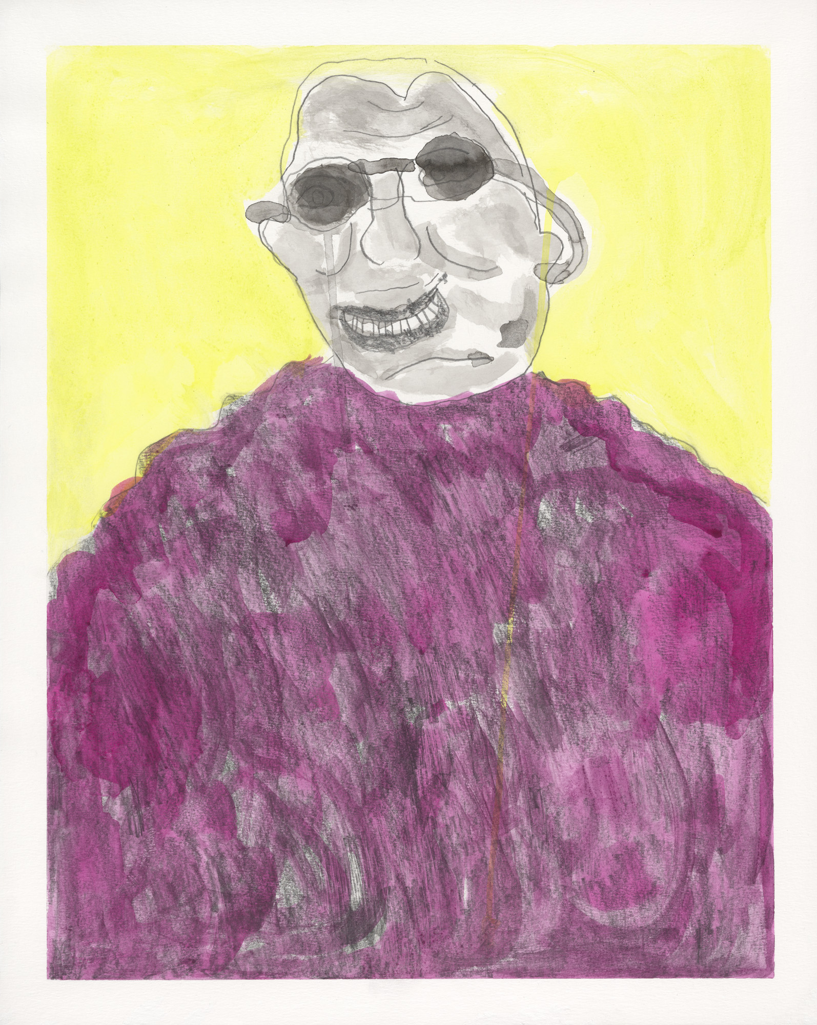 A confident drawing of the head and shoulders of an African American man wearing dark glasses. A vibrant lemon background contrasts with his face and the flood of deep purple of his sweater.
