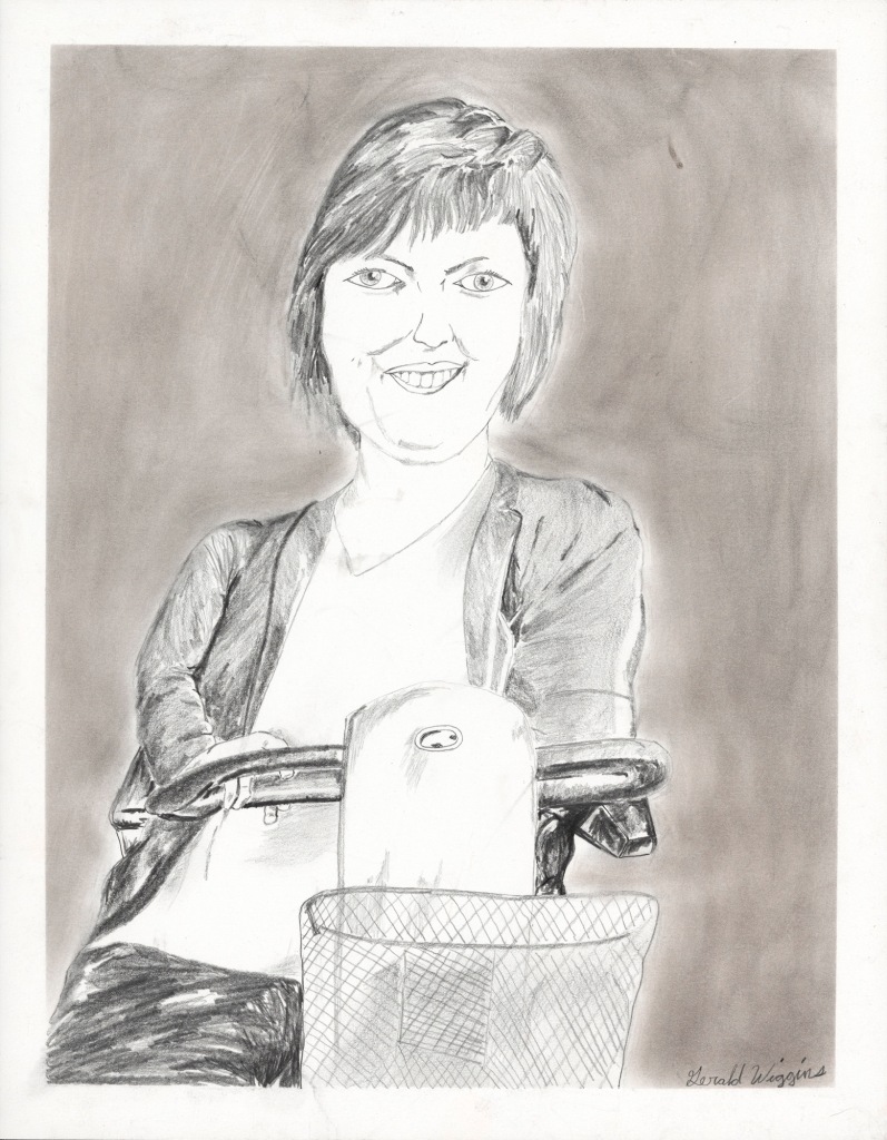 A delicate pencil drawing of a smiling white woman, with short hair in a power wheelchair looks ahead. The smudgy background creates a pale aura around her.
