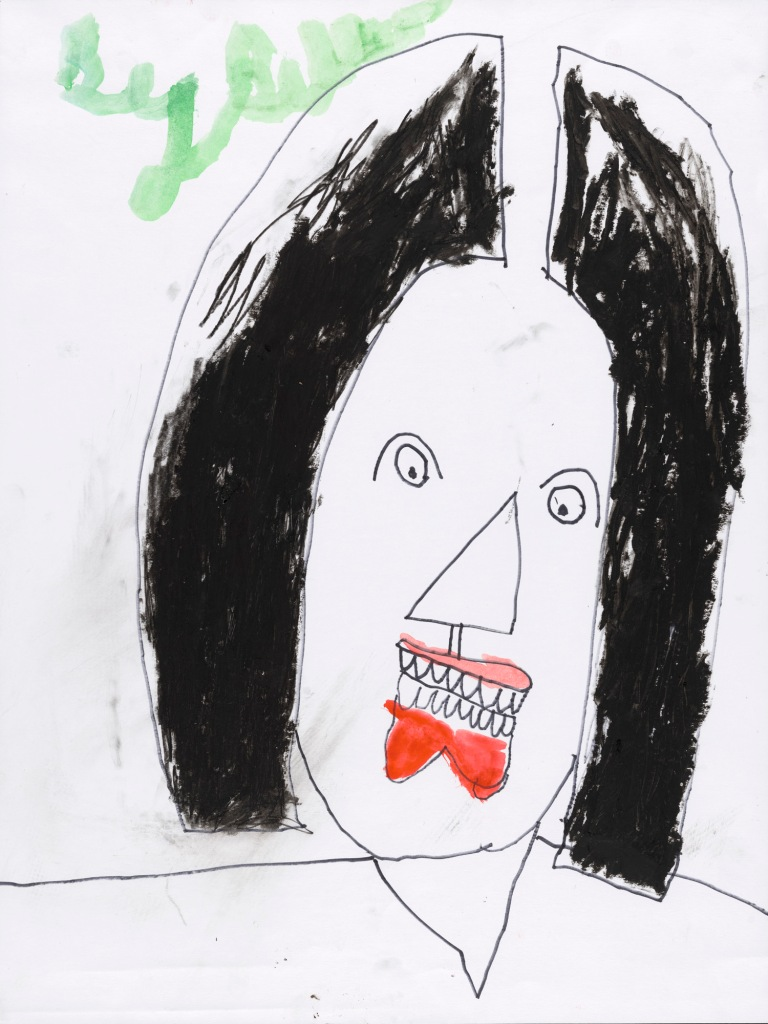 IMAGE: The head and shoulders of a woman with shoulder-length black hair and red lips in outline pen on bright, white paper. Billy White's signature is drawn with a large brush in the top left.