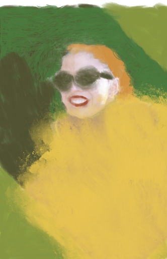 The artist worked over a photograph to create a three quarter profile of a woman in sunglasses with a broad smile with contrasting colors. Her clothing has a golden shimmer, her hair is bright orange and the background is matt green.